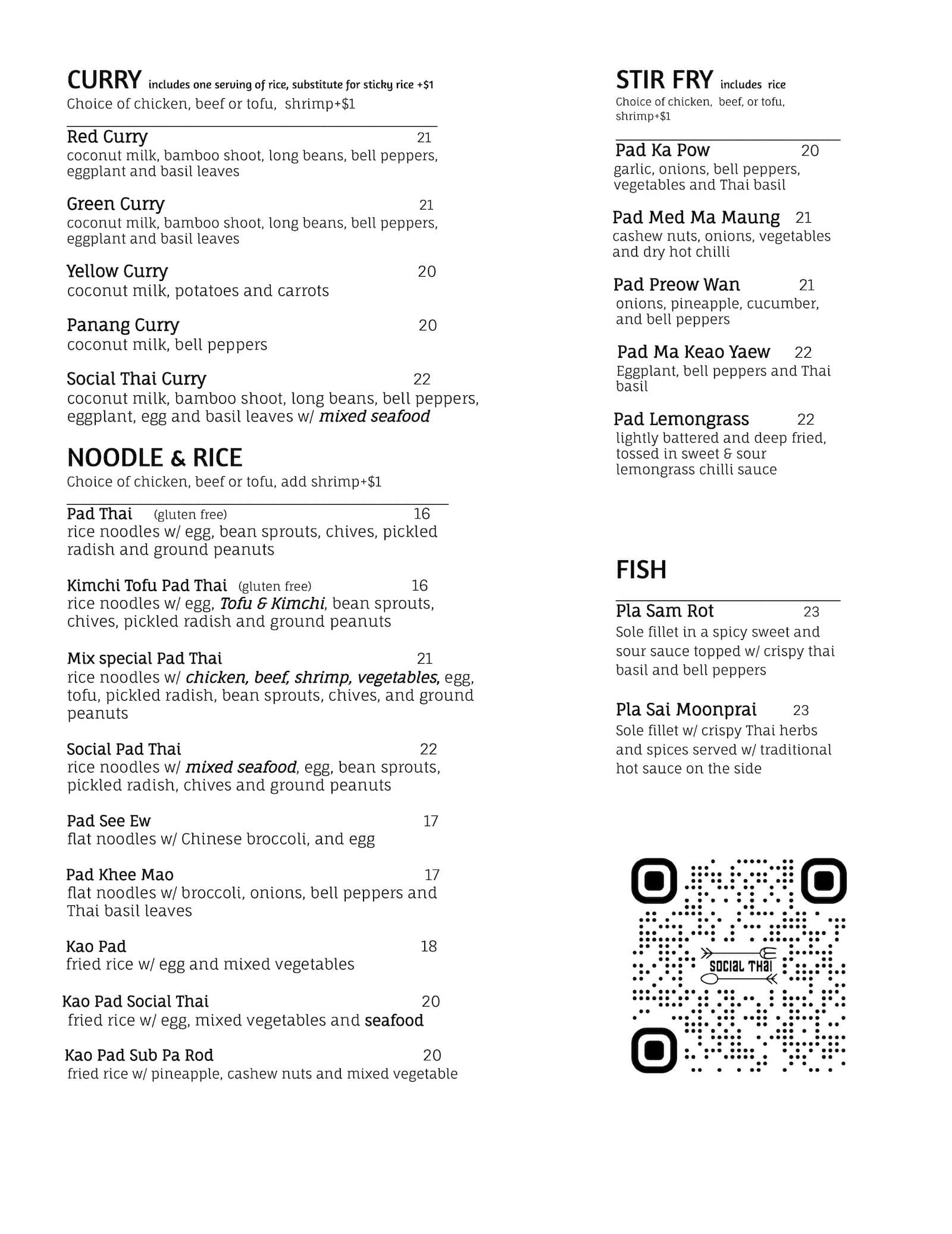 Social Thai Dinner Menu Page 2