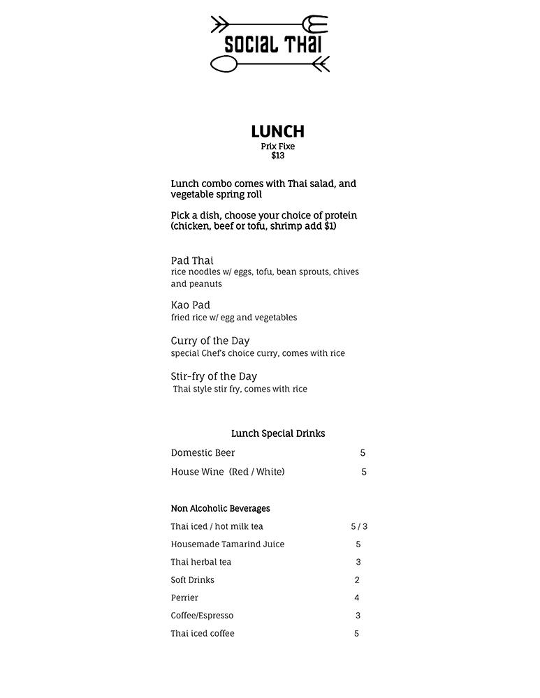 Social Thai Lunch Menu